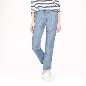 J. Crew Silky Chambray Pull On Cropped Pants